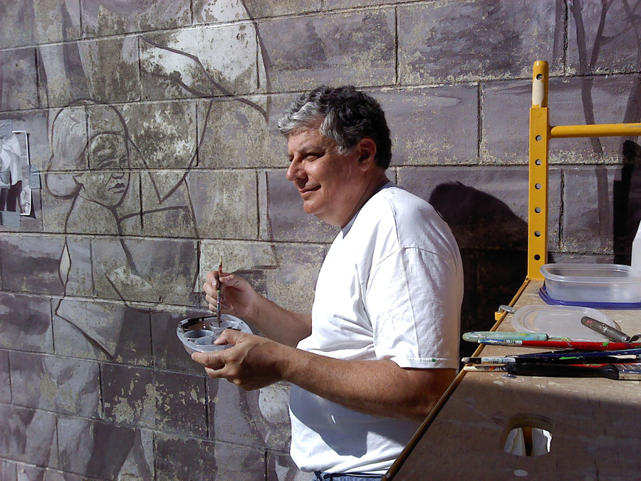 "Restoration of ""Hunger Has No Color"" mural, 2010"